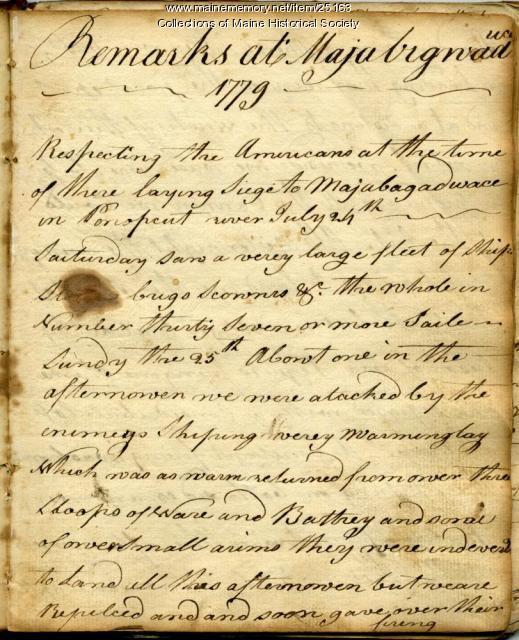 Reidhead's Journal, Castine, 1779
