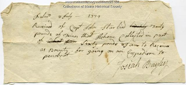 Receipt for Penobscot Expedition service, Falmouth, 1779