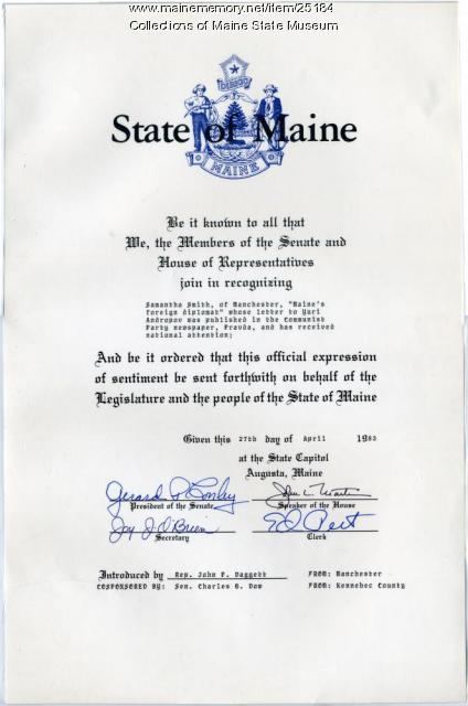 Proclamation honoring Samantha Smith, 1983