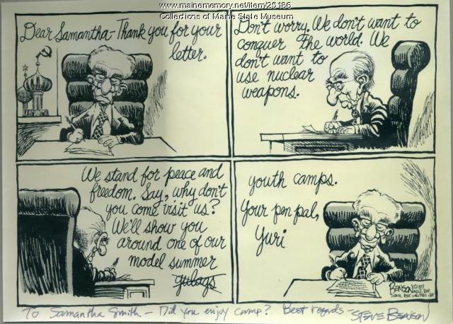 Samantha Smith editorial cartoon, 1983