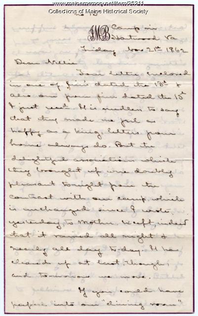John Marshall Brown letter from Hartwood, Va., 1862