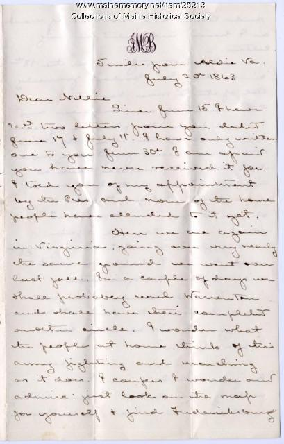 J.M. Brown letter from Aldie, Va., 1863