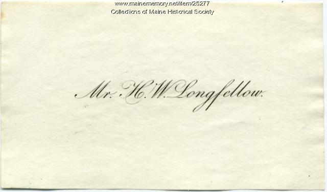 Henry Wadsworth Longfellow calling card