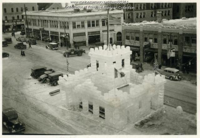 Lewiston ice palace, Main Street, 1926