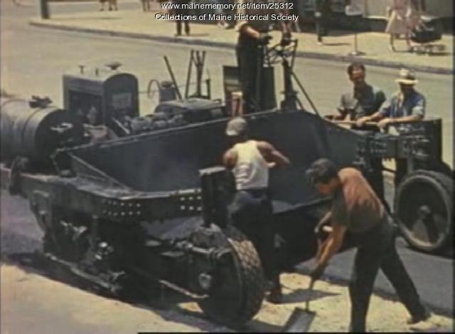 Film of removing trolley tracks, Congress St. Portland, 1941