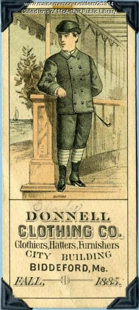 Advertisement for Donnell Clothing Company, Biddeford, 1885
