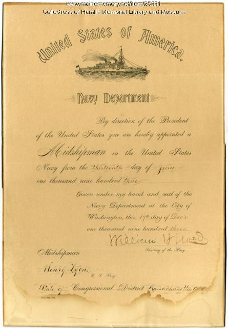 Henry W. Lyon Jr. appointment to Naval Academy, 1903