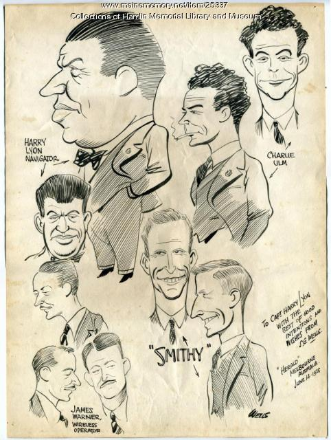 Caricatures of Southern Cross crew, 1928