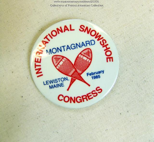 Snowshoe convention button, Lewiston, 1985