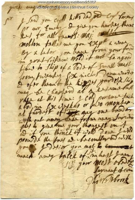 Thomas Westbrook letter to William Pepperrell about ship masts, York, 1734