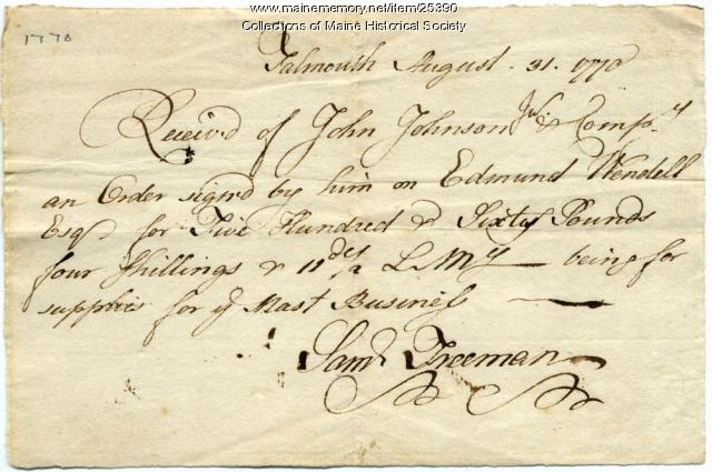 Receipt for mast supplies, Falmouth, 1770