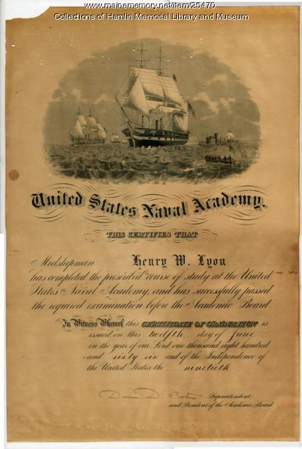 Henry Lyon Naval Academy diploma, 1866