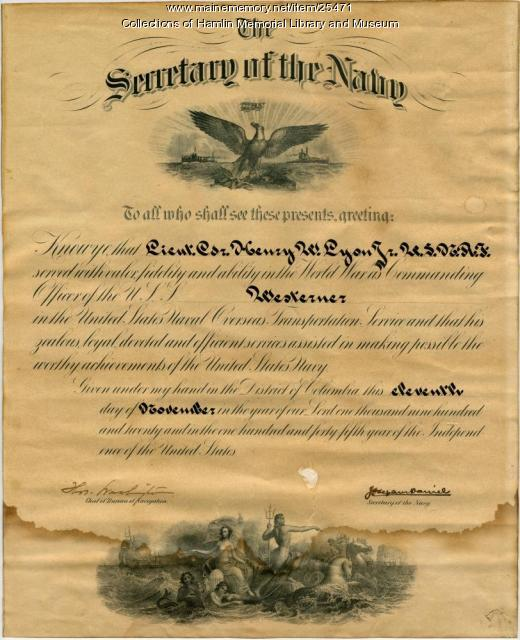 Harry Lyon commendation, 1920