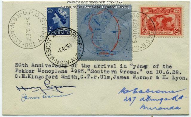 Commemorative stamp cover, Australia, 1958