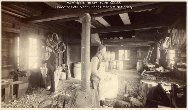 Cooper shop, Poland Spring, ca. 1885