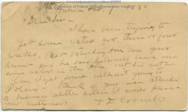 D.D. Coombs letter about Poland water, Auburn, 1880
