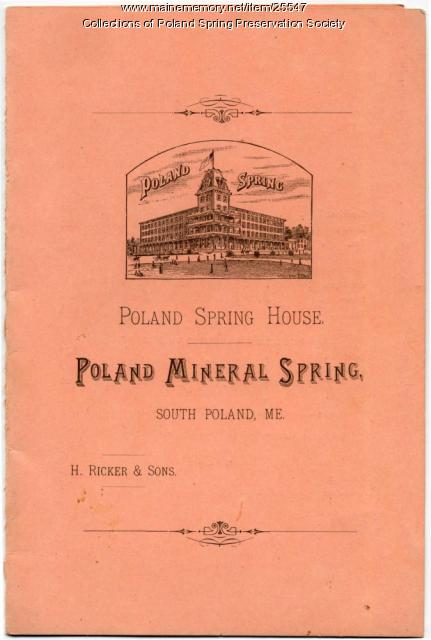 Menu, Poland Spring resort, 1884