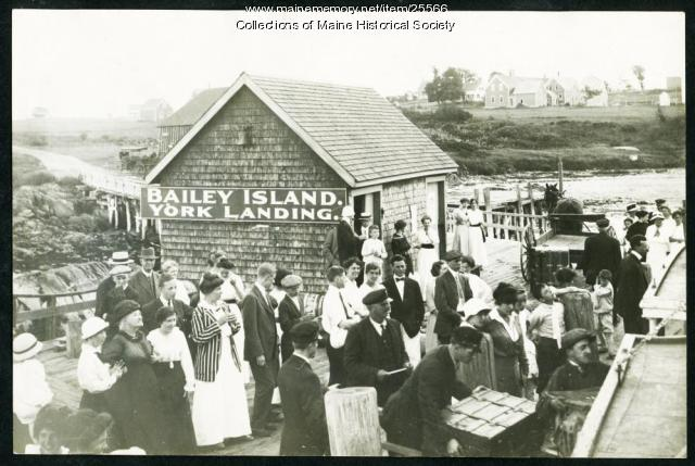 Passengers and islanders on wharf, Bailey Island, ca. 1910
