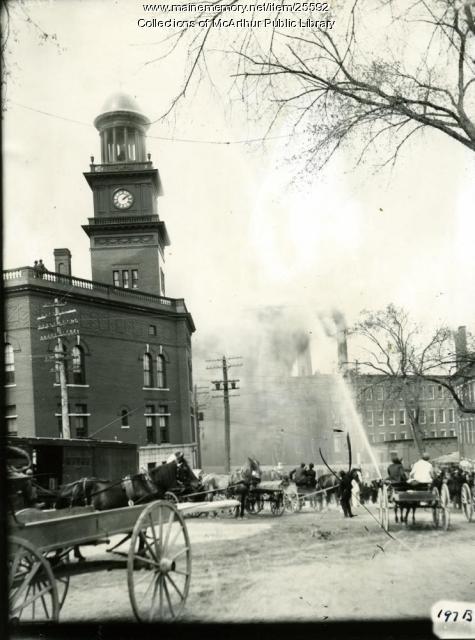 Testing a new fire engine, Biddeford, 1909