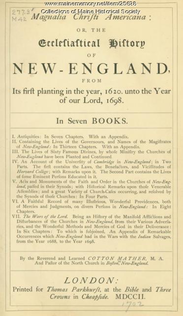 Magnalia Christi Americana, London, 1702