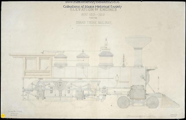 Engines 153-155 elevation drawings, Portland, 1869