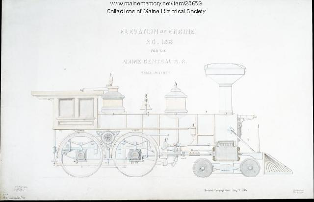 Engine No. 156, elevation drawing, 1869