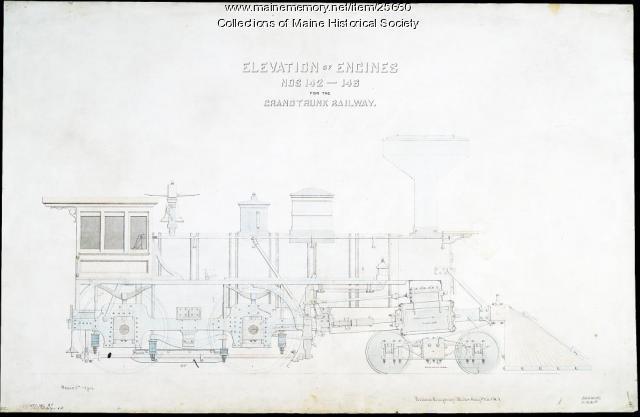 Elevation drawing of locomotive, Portland, 1868