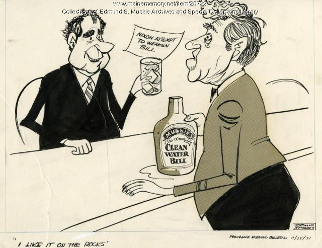 Muskie Clean Water Bill cartoon, 1971