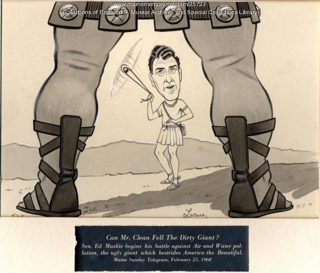 Edmund Muskie battles the Giant cartoon, 1968