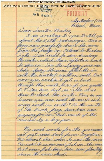 Student letter to Edmund Muskie, Poland, 1970