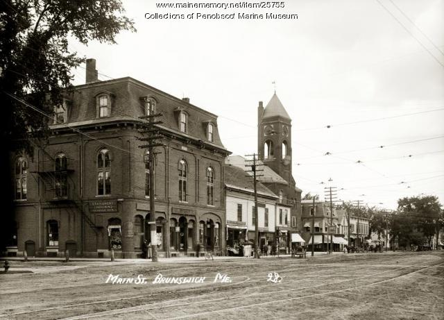 Corner of Pleasant and Maine Streets, Brunswick, circa 1910