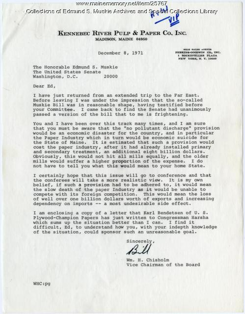 William Chisholm letter to Sen. Muskie, 1971