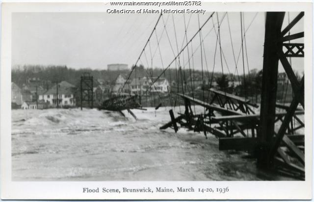 Flooded Swinging Bridge, Brunswick, 1936