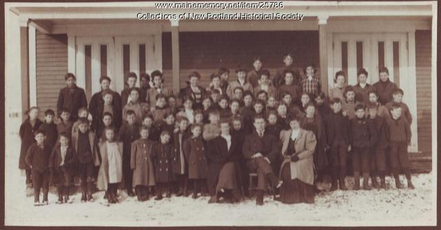 Students, Green Schoolhouse, New Portland, ca. 1900