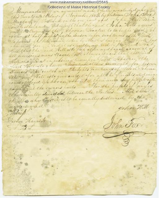 Schooner Decatur agreement, 1824