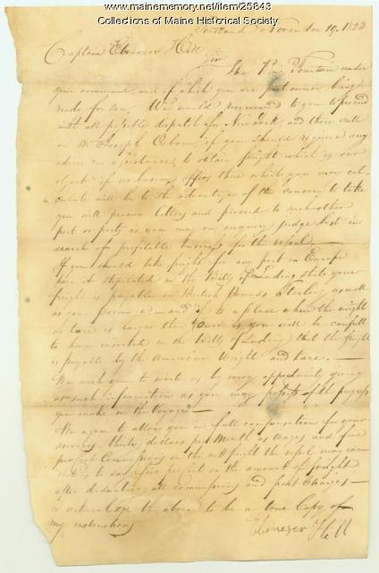 Letter to Capt. Ebeneezer Hill, 1823