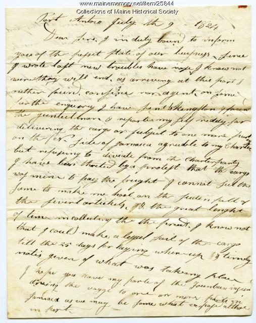 Letter from Capt. Hill on ship issues, Jamaica, 1824