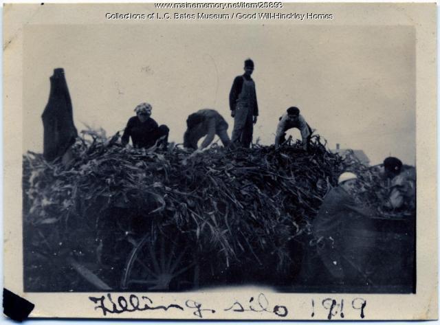 Good Will boys filling silo, Fairfield, 1919