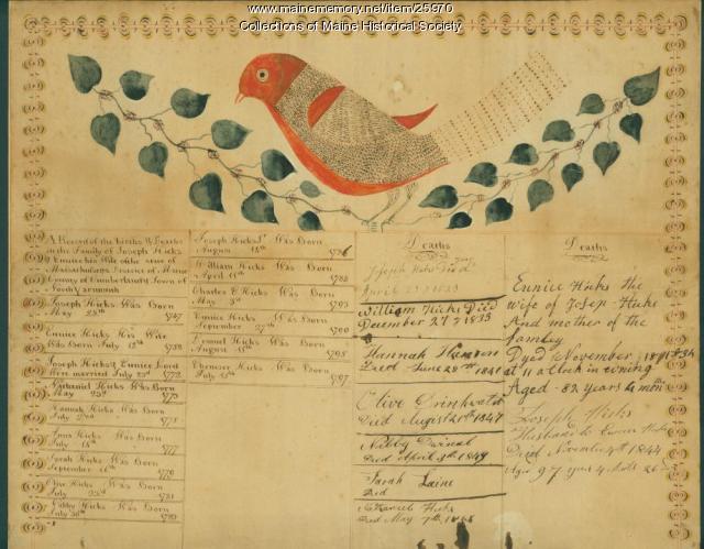 Hicks Family Record, ca. 1797