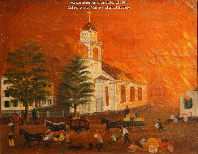 Burning of Second Parish Church, Portland, 1866