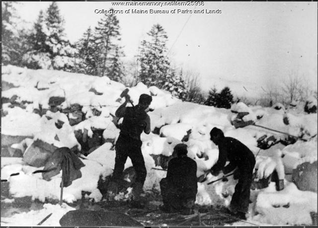 Winter Stone Work at Mount Waldo, ca. 1860