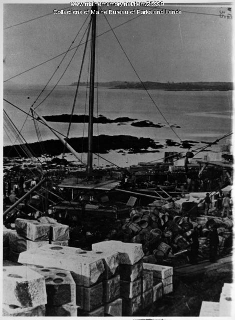 Derrick during building of Fort Preble, ca. 1860