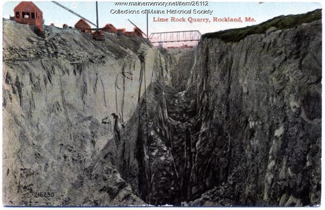 Lime rock quarry, Rockland, ca. 1915