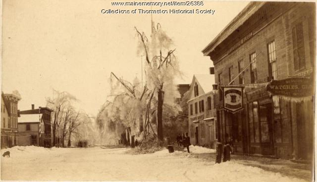 Ice Storm, Looking east on Main Street, Thomaston,  March 1888