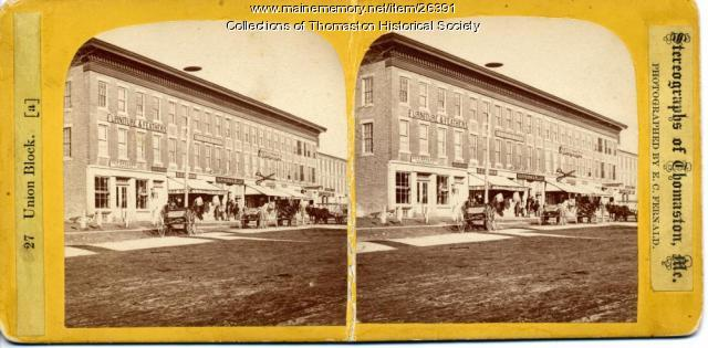 Union Block Stereo View, Thomaston, ca. 1870