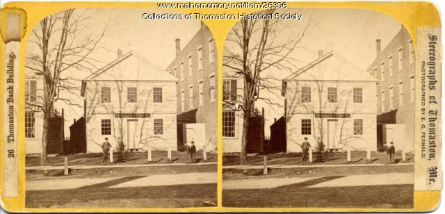 Thomaston Bank, Stereo View, Thomaston, ca. 1865