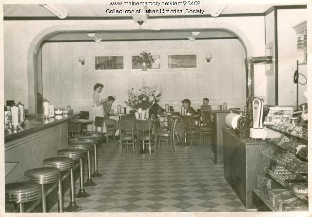 Soda fountain, Lubec, ca 1950