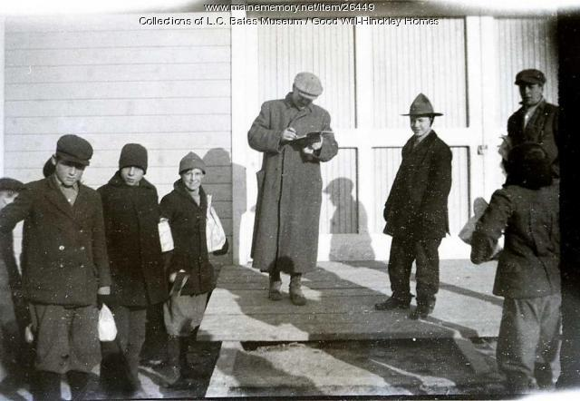 Good Will boys at barn, Fairfield, ca. 1915