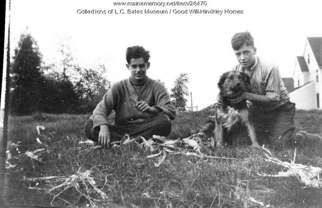 Boys and dog, Good Will Home, Fairfield, ca. 1920