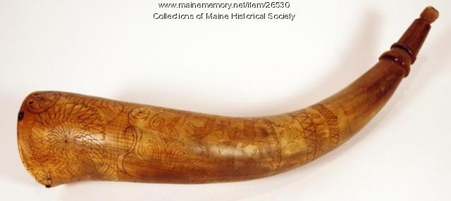 Samuel Libby powder horn, Scarborough, 1723